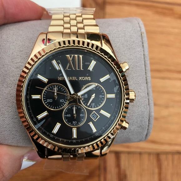 250dc00302f5 Mens Michael Kors Lexington Gold color watch